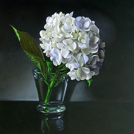 """""""White Hydrangea 10x10"""" original fine art by M Collier"""