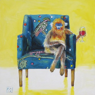 """monkey shines III"" original fine art by Kimberly Applegate"