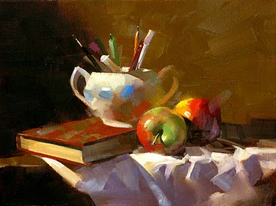 """""""Apples in Study"""" original fine art by Qiang Huang"""