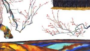 """Plum Trees"" original fine art by Mariko Irie"