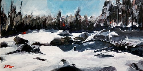 """1977 Snowy Landscape with red Dots"" original fine art by Dietmar Stiller"