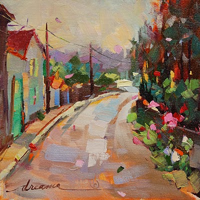 """Morning Walk in France SOLD"" original fine art by Dreama Tolle Perry"