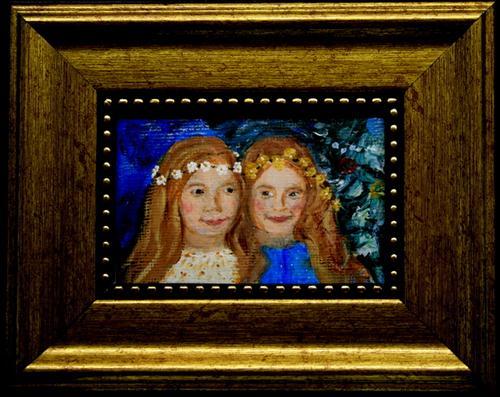 """Miniature of Sisters"" original fine art by Jean Nelson"