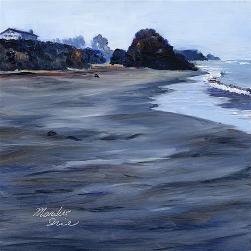 """Foggy Morning Seaside Beach"" original fine art by Mariko Irie"