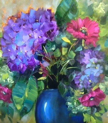 """Blue Hydrangea Pink Daisy Surprise by Texas Flower Artist Nancy Medina"" original fine art by Nancy Medina"