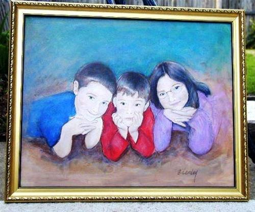 """Michaels grandkids. commissioned."" original fine art by Barbara Lemley"