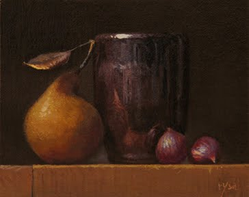"""""""Still Life with Chestnuts and Local Pear"""" original fine art by Abbey Ryan"""
