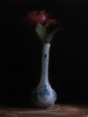 """Red Rose in Bud Vase"" original fine art by Neil Carroll"