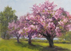 """Hudson River Blossoms"" original fine art by Jamie Williams Grossman"