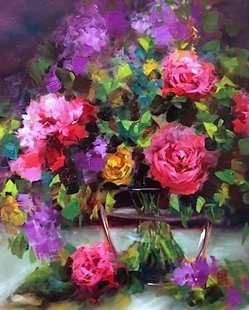 """Romantic Dreamer Roses - Flower Paintings by Nancy Medina"" original fine art by Nancy Medina"