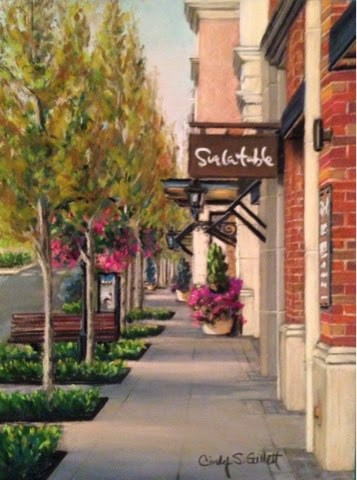 """""""The Village - Before the Shoppers Arrive"""" original fine art by Cindy Gillett"""