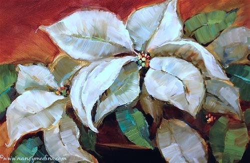 """Painting Live on Facebook - Poinsettias in White"" original fine art by Nancy Medina"