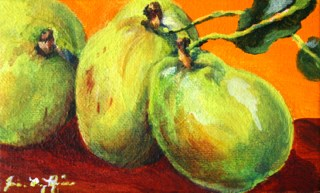 """Three Pears"" original fine art by JoAnne Perez Robinson"