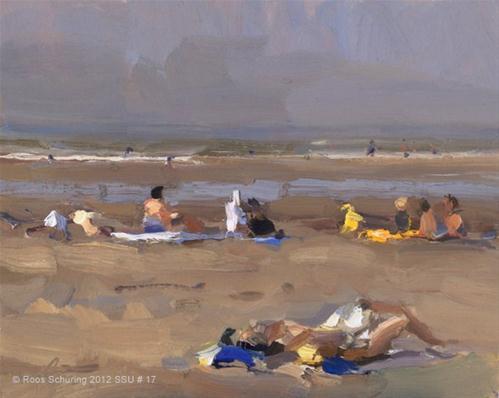 """Seascape summer # 17 Sun+People"" original fine art by Roos Schuring"