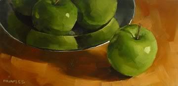 """""""Apple Plate Plus One"""" original fine art by Michael Naples"""