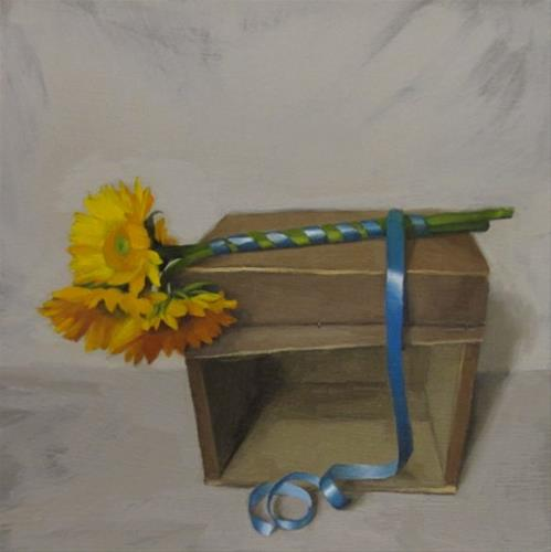 """""""Tied Up painting of sunflowers on wood crate"""" original fine art by Diane Hoeptner"""
