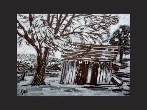 """The Shack - ACEO"" original fine art by Rhett Regina Owings"