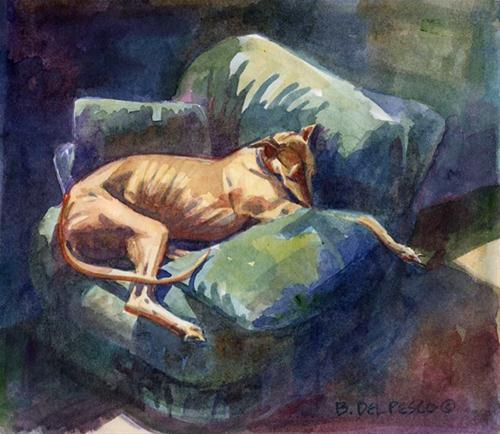 """Watercolor: Greyhound Lounger"" original fine art by Belinda Del Pesco"
