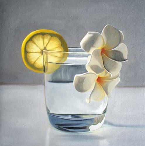 """""""Lemon Plumeria Tonic"""" original fine art by Lauren Pretorius"""