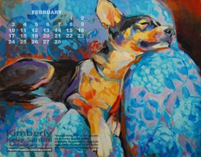 """February Desktop Calendar"" original fine art by Kimberly Santini"