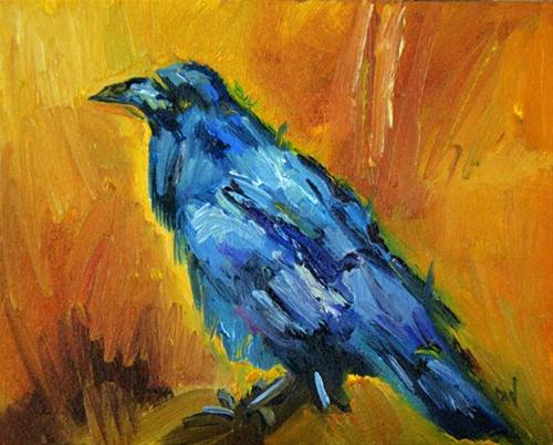 """CROW KNOWS ALL DAILY PAINTING DIANE WHITEHEAD ANIMAL ART"" original fine art by Diane Whitehead"