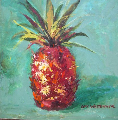 """Hospitality Acrylic Painting Traditional Symbol of Hospitality Pineapple by AZ Artist Amy Whitehou"" original fine art by Amy Whitehouse"