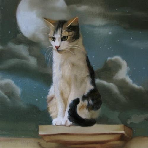 """""""Estate Cat with ominous hiss"""" original fine art by Diane Hoeptner"""