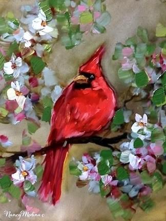 """Cherry Blossom Percher - Red Cardinal Painting by Nancy Medina"" original fine art by Nancy Medina"