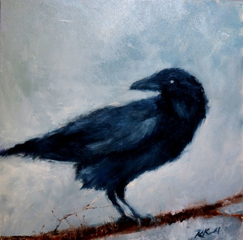 """Raven on a Branch"" original fine art by Bob Kimball"