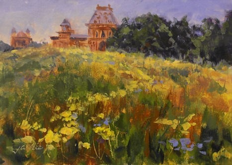 """Golden Flowers at Olana"" original fine art by Jamie Williams Grossman"