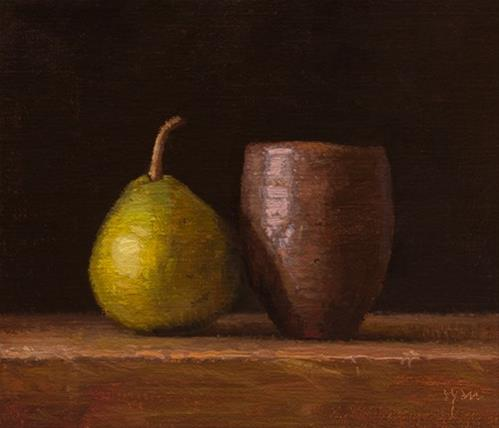"""""""Pear with Japanese Vase  (+ more about Sedona)"""" original fine art by Abbey Ryan"""