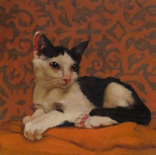 """Claudine, a new cat painting"" original fine art by Diane Hoeptner"