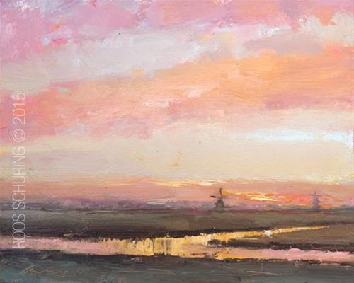 """""""Pink Sunrise and Windmills"""" original fine art by Roos Schuring"""
