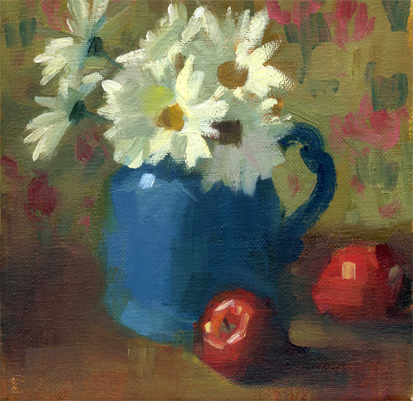 """""""Daisies and apples-sold"""" original fine art by Kathy Weber"""