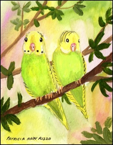 """Wild Budgies"" original fine art by Patricia Ann Rizzo"