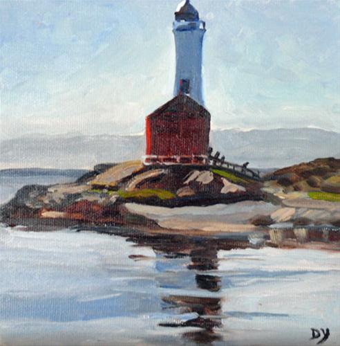 """""""Fisgard Lighthouse, 6x6, oil"""" original fine art by Darlene Young"""
