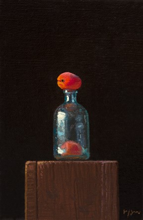 """""""Still life: Glass Bottle & Two Apricots (magic is still possible)  (((+ a quick survey)))"""" original fine art by Abbey Ryan"""