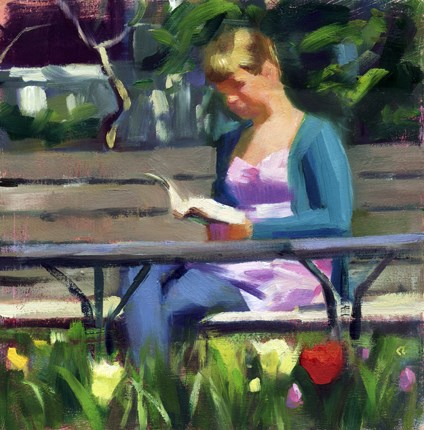 """""""Reading on a spring day in the garden"""" original fine art by Kathy Weber"""