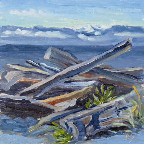 """""""Holland Point Snag, oil on board, 6inx6in"""" original fine art by Darlene Young"""