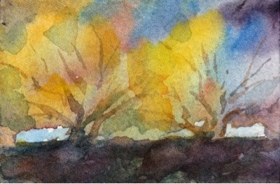 """""""Tiny Painting #4 - Grove"""" original fine art by Lyn Gill"""