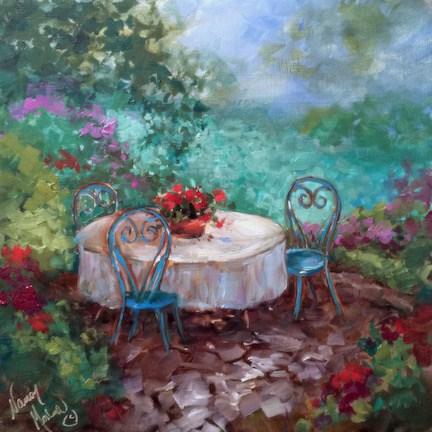 """""""Le Jardin Cafe"""" original fine art by Nancy Medina"""