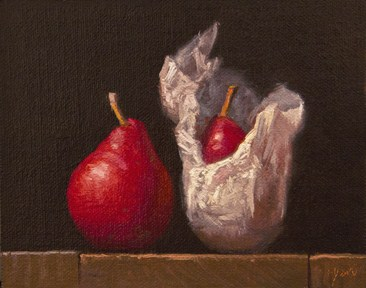 """""""Red Pear & Wrapped Red Pear (Yin & Yang) - 24 Hour Auction"""" original fine art by Abbey Ryan"""