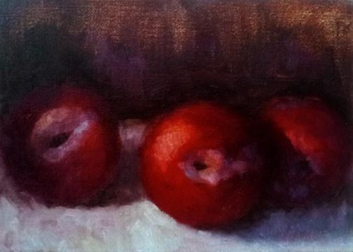 """""""The Three Plums"""" original fine art by Cindy Haase"""