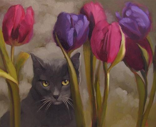 """Tulip Forest Cat + a mini-melt down painter's block"" original fine art by Diane Hoeptner"