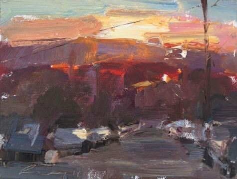 """Sunset California 18"" original fine art by Roos Schuring"