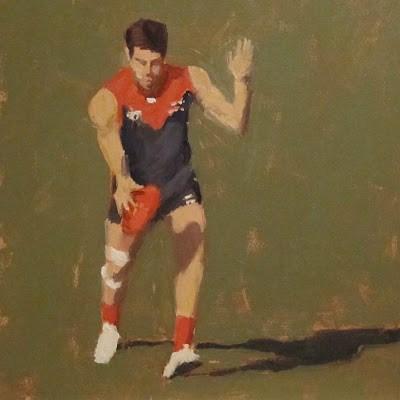 """FOOTBALL ( Australian Rules ) at the MCG -Melb FC #3"" original fine art by Helen Cooper"