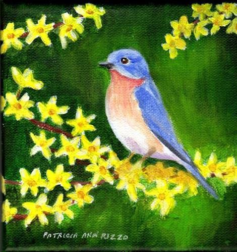 """""""Bluebird on Forsythia"""" original fine art by Patricia Ann Rizzo"""