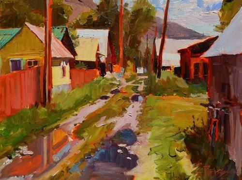 """""""Alley After the Rain, Crested Butte , plein air painting by Robin Weiss"""" original fine art by Robin Weiss"""