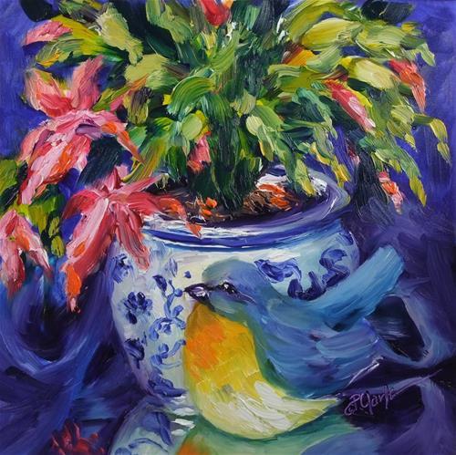 """Christmas Cactus, 8 x 8 Oil, Still Life"" original fine art by Donna Pierce-Clark"