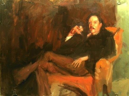 """""""copy of a Sargent painting/ RLS"""" original fine art by Richard Schiele"""